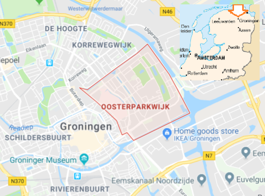 Location of Oosterparkwijk district in the city of Groningen